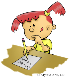 Cartoon of Girl Writing